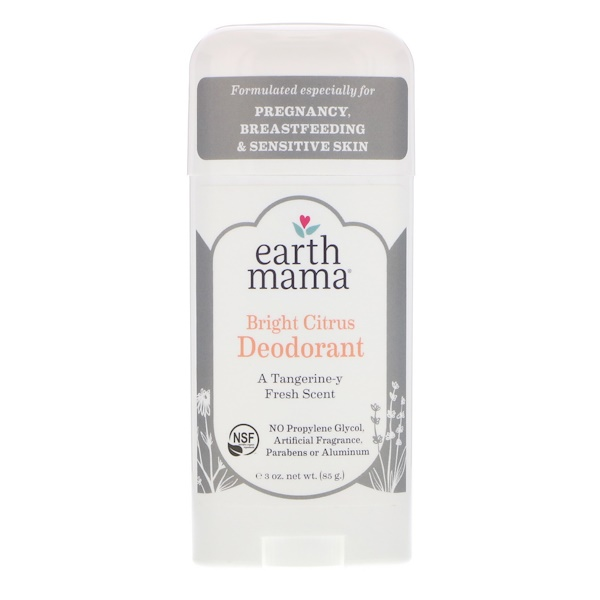 Earth Mama, مزيل رائحة، الليمون البهيّ، 3 أوقية (85 غرام)