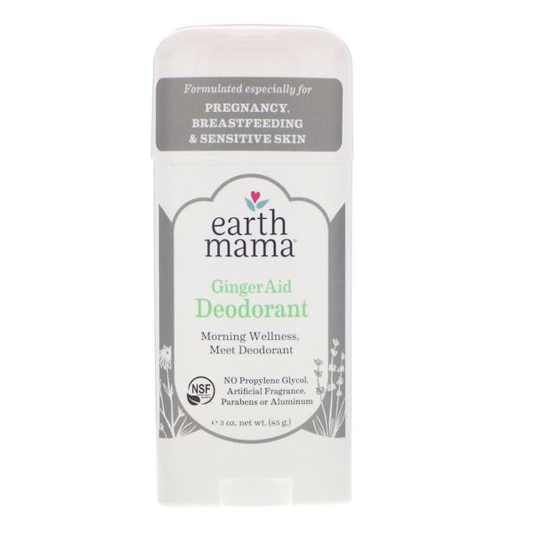 Earth Mama, デオドラント、ジンジャー エイド、3 oz (85 g)