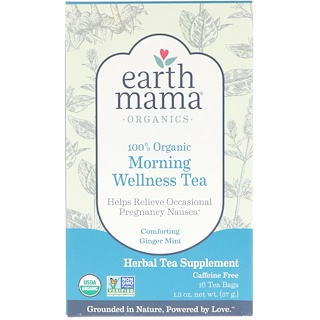 Earth Mama, 100% Organic Morning Wellness Tea, Comforting Ginger Mint, 16 Tea Bags, 1.3 oz (37 g)