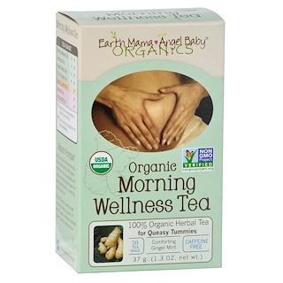 Earth Mama Angel Baby, Organic Morning Wellness Tea, Comforting Ginger Mint, Caffeine Free, 16 Tea Bags, 1.3 oz (37 g)