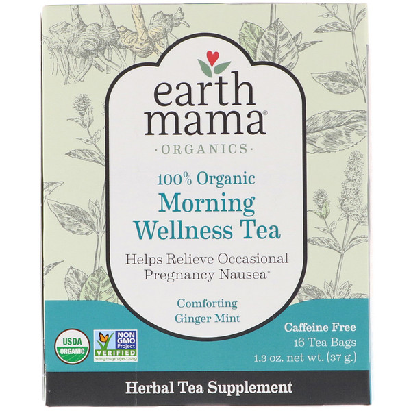Earth Mama, 100% Organic Morning Wellness Tea, Comforting Ginger Mint, 16 Tea Bags, 1.3 oz (37 g) (Discontinued Item)