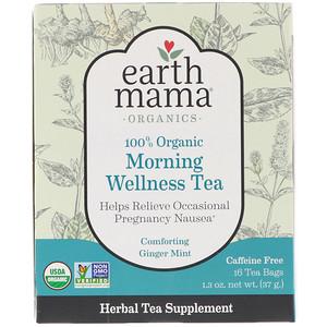 Ёрт Мама Энджел Бэби, 100% Organic Morning Wellness Tea, Comforting Ginger Mint, 16 Tea Bags, 1.3 oz (37 g) отзывы покупателей