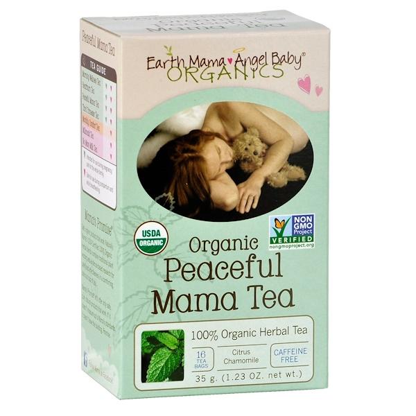 Earth Mama Angel Baby, Organic Peaceful Mama Tea, Citrus Chamomile, Caffeine Free, 16 Tea Bags, 1.23 oz (35 g)