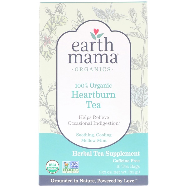 Earth Mama, Organics, 100% Organic Heartburn Tea, Soothing, Cooling Mellow Mint, Caffeine Free, 16 Tea Bags, 1.23 oz (35 g)