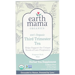 Earth Mama, 100% Organic Third Trimester Tea, Fragrant Herb Mint, 16 Tea Bags, 1.3 oz (37 g)