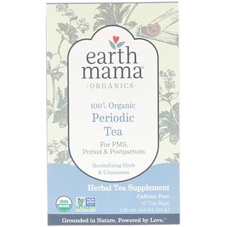 Earth Mama, 100%オーガニックピリオディックティー、活力を与えるハーブとシナモン、16ティーバッグ、1.23オンス (35 g)