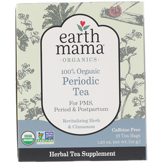 Earth Mama, 100% Organic Periodic Tea, Revitalizing Herb & Cinnamon, 16 Tea Bags, 1.23 oz (35 g)