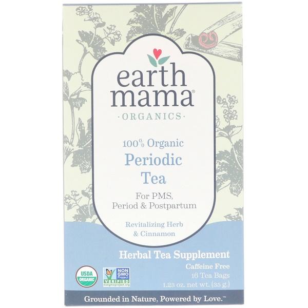 Earth Mama, 100% Organic Periodic Tea, Revitalizing Herb & Cinnamon, 16 Tea Bags, 1.23 oz (35 g)