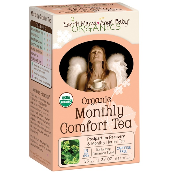 Earth Mama Angel Baby, Organic, Monthly Comfort Tea, Revitalizing Cinnamon Spice, Caffeine Free, 16 Tea Bags, 1.23 oz (35 g)