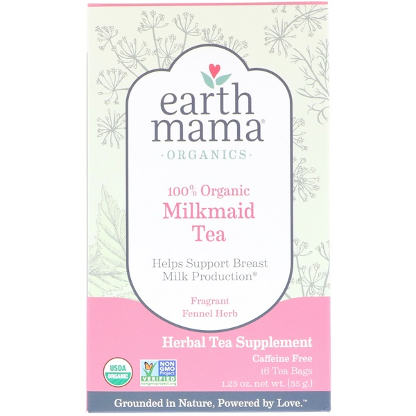 Earth Mama, Organics, 100% Organic Milkmaid Tea, Fragrant Fennel Herb, Caffeine Free, 16 Tea Bags, 1.23 oz (35 g) (Discontinued Item)