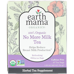 Earth Mama, 100% Organic No More Milk Tea, Refreshing Hibiscus Sage, 16 Tea Bags, 1.23 oz (35 g)