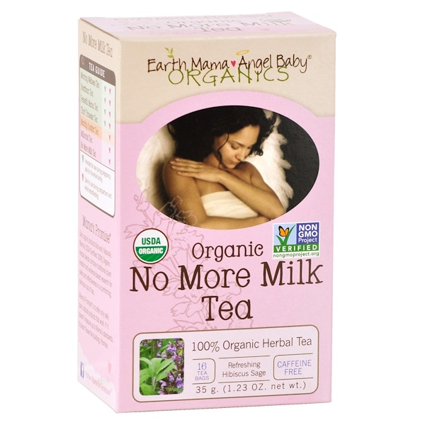 Earth Mama Angel Baby, Organic No More Milk Tea, Refreshing Hibiscus Sage, 16 Tea Bags, 1.23 oz (35 g)