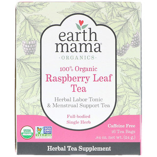 Earth Mama, 100% Organic Raspberry Leaf Tea, Full-Bodied Single Herb, 16 Tea Bags, .84 oz (24 g)