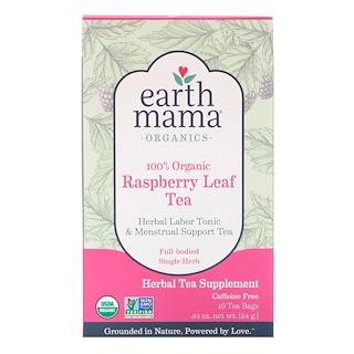Earth Mama, 100 % Organic Raspberry Leaf Tea, Caffeine Free, 16 Tea Bags, .84 oz (24 g)