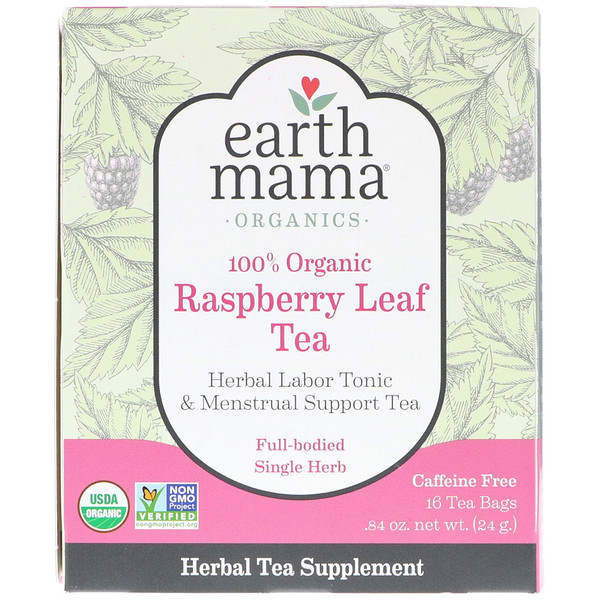 Earth Mama, 100% Organic Raspberry Leaf Tea, Full-Bodied Single Herb, 16 Tea Bags, .84 oz (24 g) (Discontinued Item)