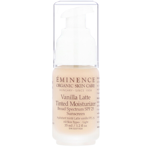 Eminence Organics, Vanilla Latte Tinted Moisturizer, SPF 25, Light, 1.2 fl oz (35 ml) (Discontinued Item)