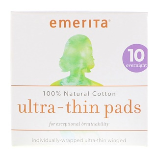 Emerita, 100% Natural Cotton Ultra-Thin Pads, Overnight, 10 Pads