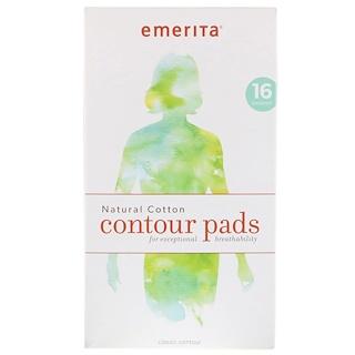Emerita, Natural Cotton Contour Pads, 16 Pads