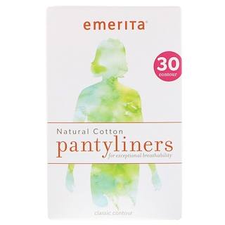 Emerita, Natural Cotton Pantyliners, Classic Contour, 30 Pantyliners