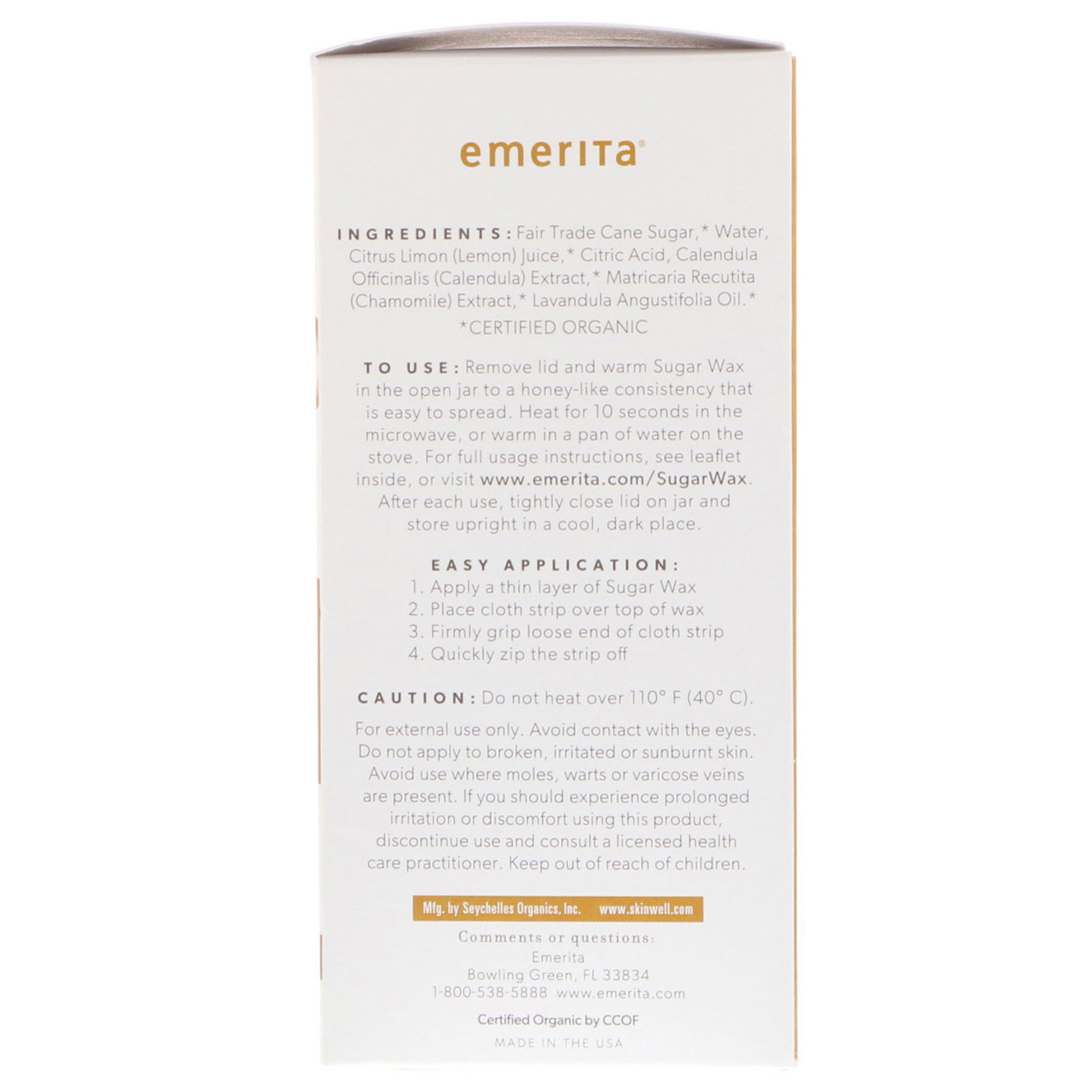 Emerita, Hair Removal Sugar Wax Kit for Face and Body, Organic, 5 5 oz (155  g)