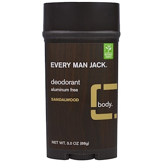 Every Man Jack, Deodorant, Sandalwood, 3.0 oz (88 g)