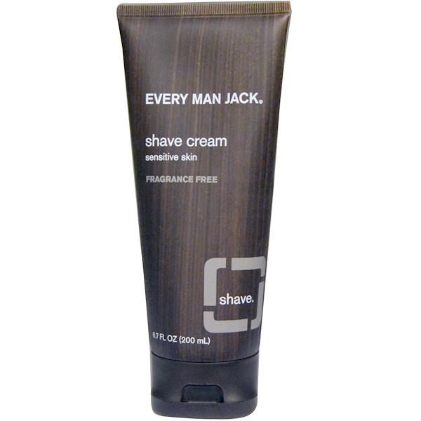 Every Man Jack, Shave Cream, Sensitive Skin, Fragrance Free, 6.7 fl oz (200 ml)