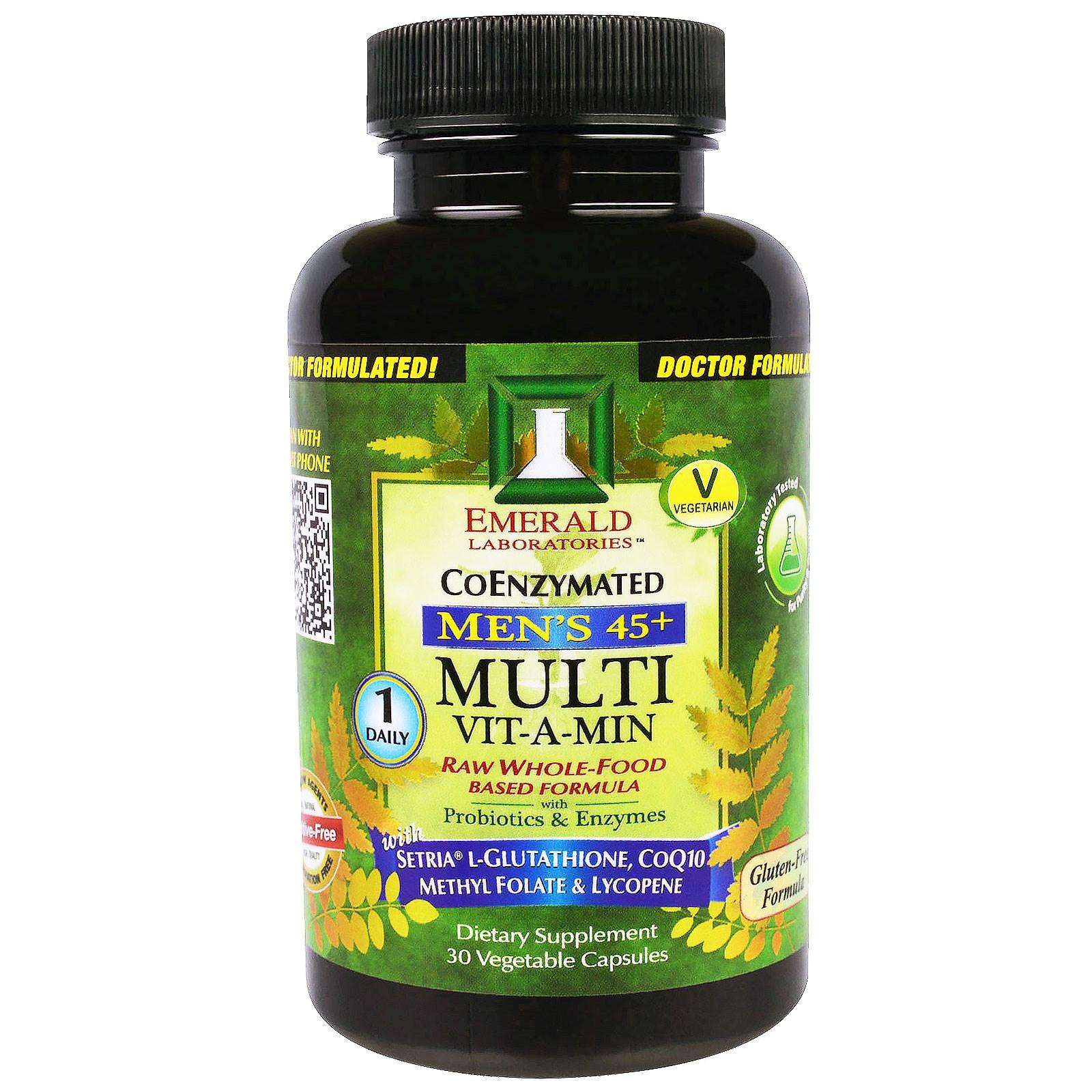 Emerald Laboratories, Multi Vit-A-Min, мультивитамины для мужчин 45+, по 1 капсуле в день, 30 вегетарианских капсул