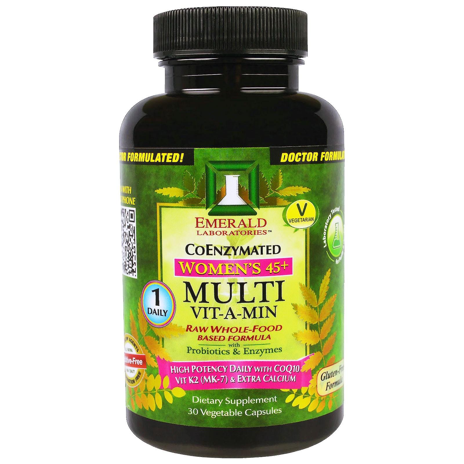 Emerald Laboratories, CoEnzymated, Multi Vit-A-Min, мультивитамины для женщин 45+, с коэнзимами 30 вегетарианских капсул
