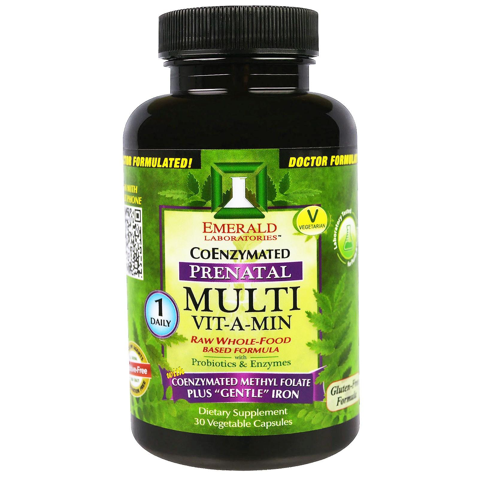 Emerald Laboratories, CoEnzymated, Multi Vit-A-Min, пренатальные мультивитамины с коэнзимами, 30 вегетарианских капсул