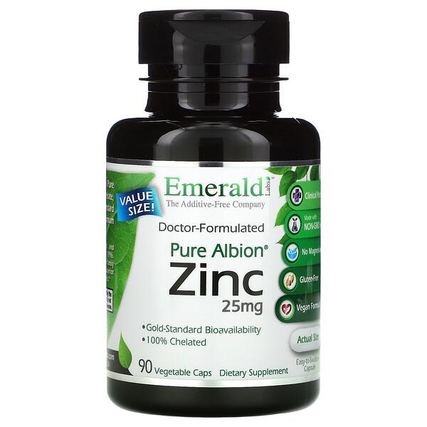 Pure Albion Zinc, 25 mg, 90 Vegetable Caps