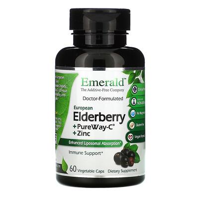 Emerald Laboratories Elderberry + PureWay C + Zinc, 60 Vegetable Caps