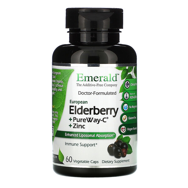 Elderberry + PureWay C + Zinc, 60 Vegetable Caps