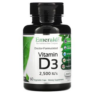 Emerald Laboratories, Vitamin D3, 2,500 IU's, 60 Vegetarian Caps