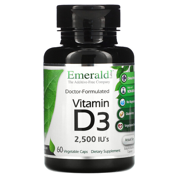 Vitamin D3, 2,500 IU's, 60 Vegetarian Caps