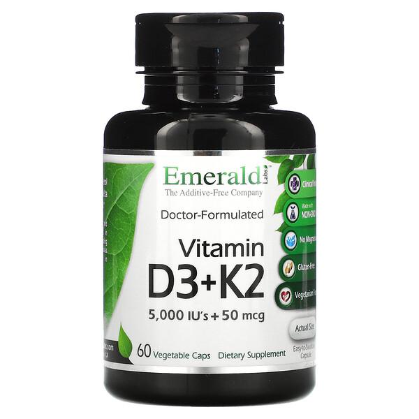 Emerald Laboratories, Vitamin D3 + K2, 60 Vegetable Caps