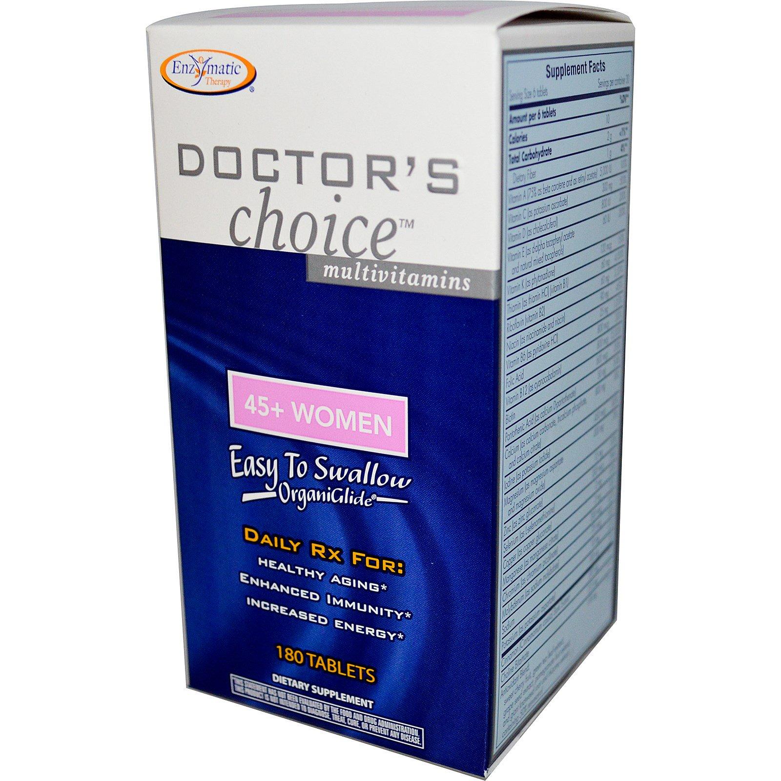 Enzymatic Therapy, Мультивитамины «Выбор врачей», для женщин от 45 лет, 180 таблеток