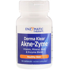 Enzymatic Therapy, منتج Derma Klear للقضاء على البثور• زايم، بشرة صحية، 90 كبسولة