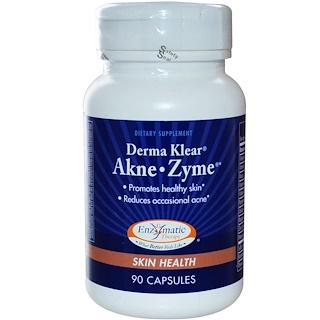 Enzymatic Therapy, Derma Klear Akne • Zime, お肌の健康, カプセル90粒