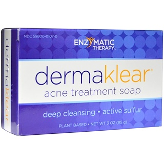 Enzymatic Therapy, Savon anti acné, traitement DermaKlear, 3 oz (85 g)