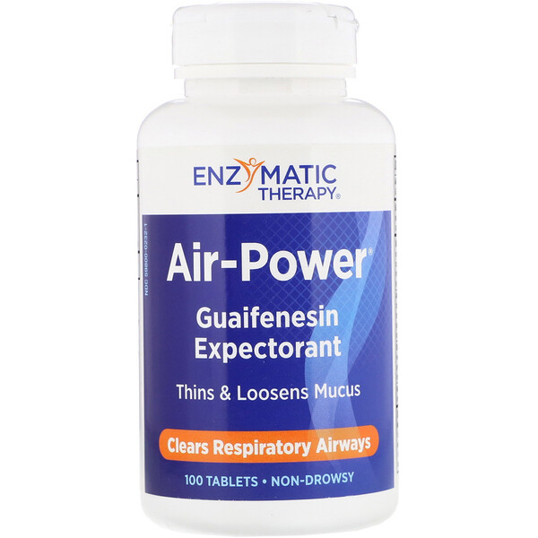 Enzymatic Therapy, Air-Power, Guaifenesin Expectorant, 100 Tablets