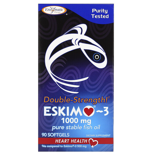 Enzymatic Therapy, Double Strength Eskimo-3, 1,000 mg, 90 Softgels (Discontinued Item)