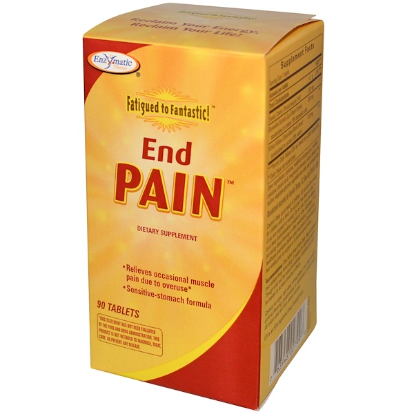 Enzymatic Therapy, Fatigued to Fantastic!, End Pain, 90 Tablets