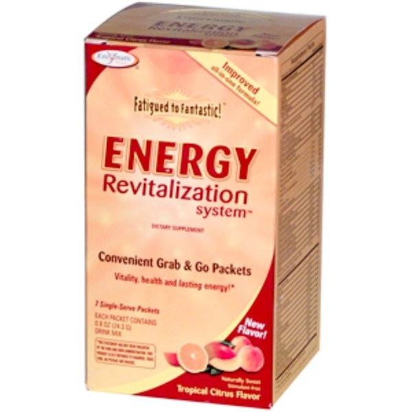 Enzymatic Therapy, Fatigued to Fantastic! Energy Revitalization System, Tropical Citrus Flavor, 7 Single-Serve Packets, 0.8 oz (24.3 g) (Discontinued Item)