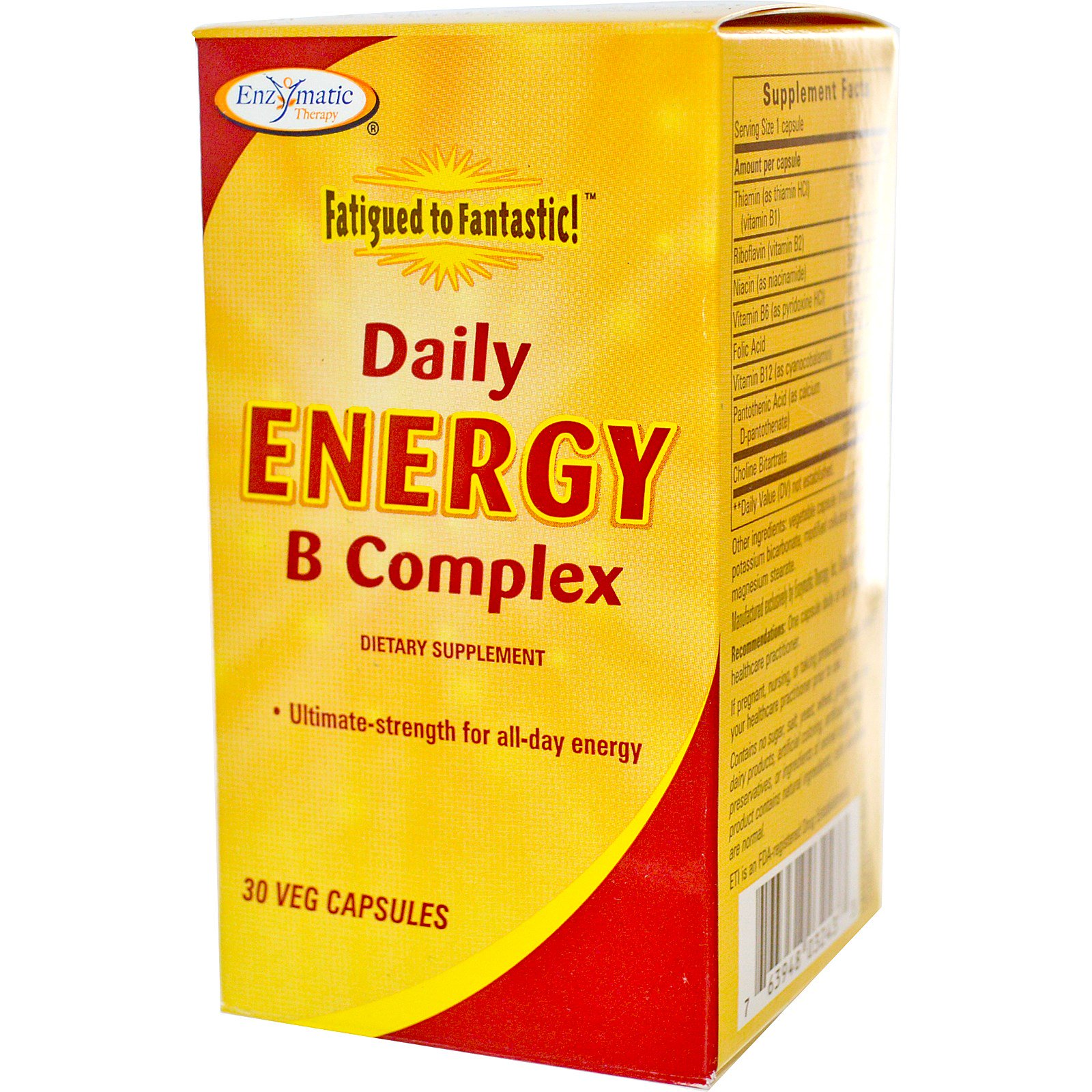 Enzymatic Therapy, «Конец усталости!», комплекс восстановления энергии с витаминами B для ежедневного приема, 30 растительных капсул