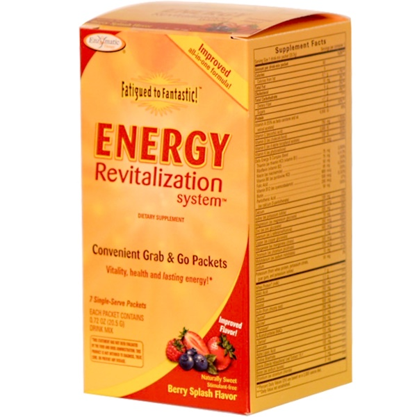 Enzymatic Therapy, Fatigued to Fantastic! Energy Revitalization System, Berry Splash, 7 Packets, 0.72 oz. (20.5g) (Discontinued Item)