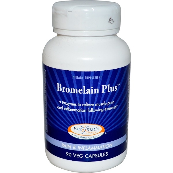 Enzymatic Therapy, Bromelain Plus, 90 Veggie Caps (Discontinued Item)
