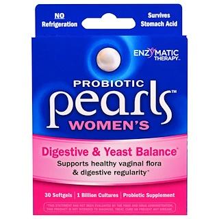 Enzymatic Therapy, Probiotic Pearls Women's, equilíbrio digestivo e da levedura intestinal, 30 cápsulas de gelatina