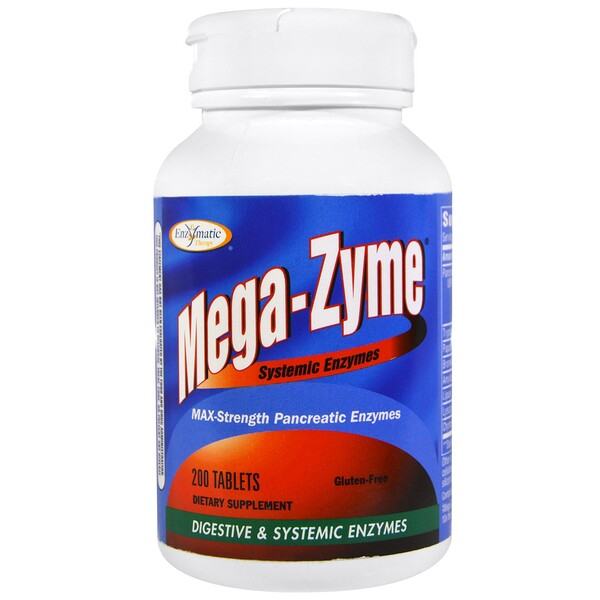 Enzymatic Therapy, Mega-Zyme, Systemic Enzymes, 200 Tablets