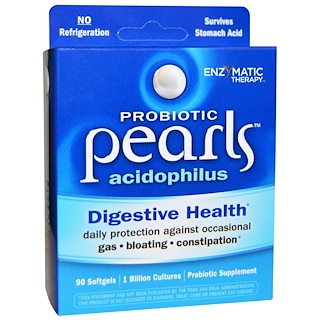 Enzymatic Therapy, Пробиотик Pearls Acidophilus, 90 желатиновых капсул
