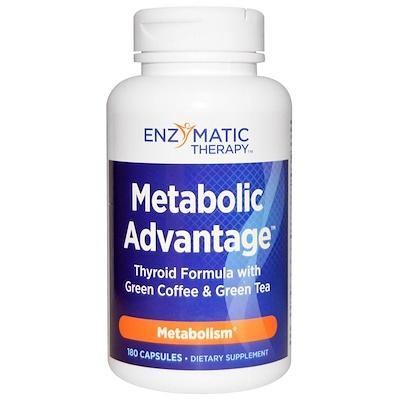 Купить Nature's Way Metabolic Advantage, формула для щитовидной железы с зеленым кофе и зеленым чаем, метаболизм, 180 капсул